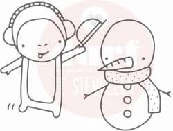 sneeuwpop makend diertje stempel