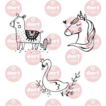 Zwaan, lama en eenhoorn stempelset