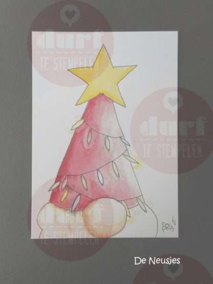 Kerstkaart kerstmuts Neusje