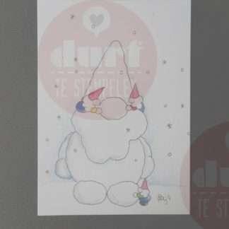 kerstkaart spelen in de sneeuw