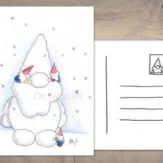 Kerstkaart spelen in de sneeuw de neusjes
