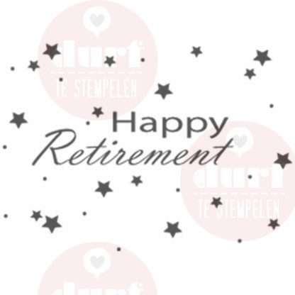 Mooie happy retirement stempel