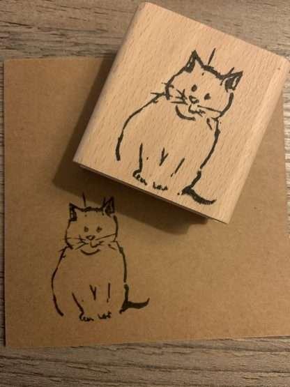 Mooi zittende kat stempel