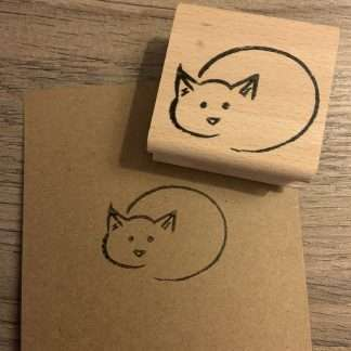 Zonnende kat stempel