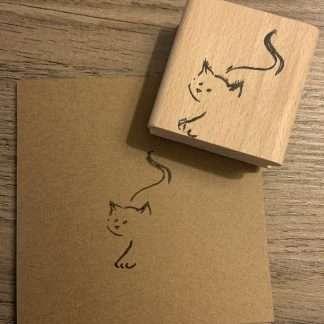 Lijntekening kat stempel
